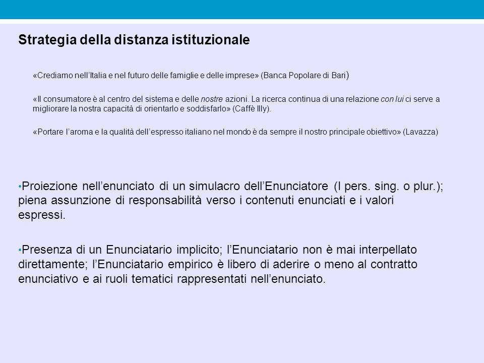 Strategia della distanza istituzionale «Crediamo nell'Italia e nel futuro delle famiglie e delle imprese» (Banca Popolare di Bari ) «Il consumatore è