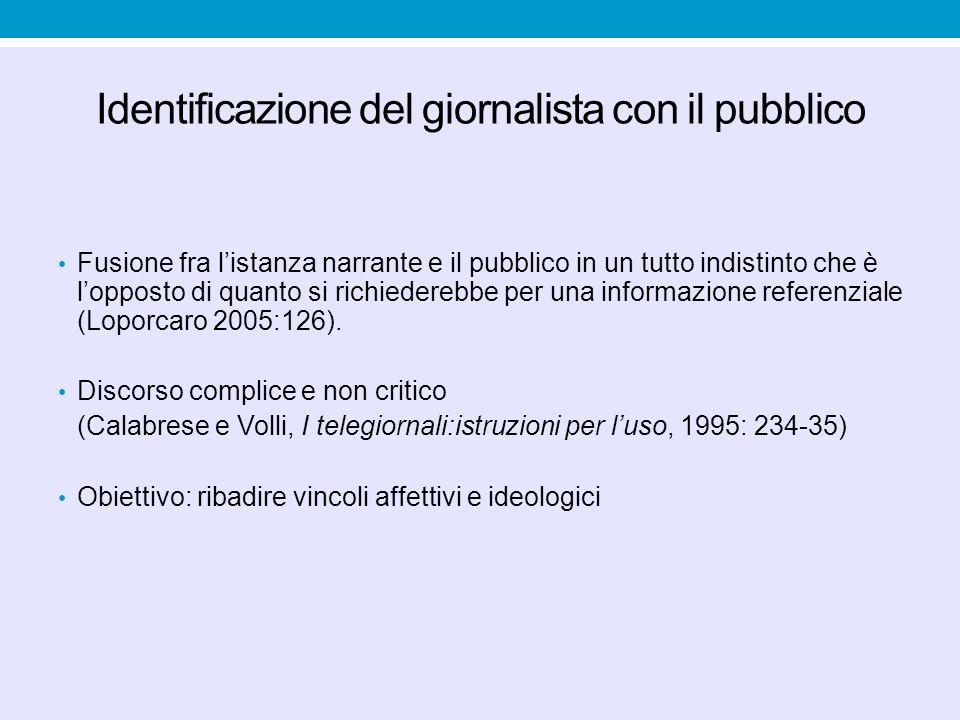 Identificazione del giornalista con il pubblico Fusione fra l'istanza narrante e il pubblico in un tutto indistinto che è l'opposto di quanto si richi