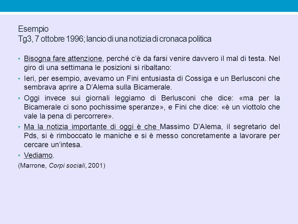 Esempio Tg3, 7 ottobre 1996; lancio di una notizia di cronaca politica Bisogna fare attenzione, perché c'è da farsi venire davvero il mal di testa. Ne