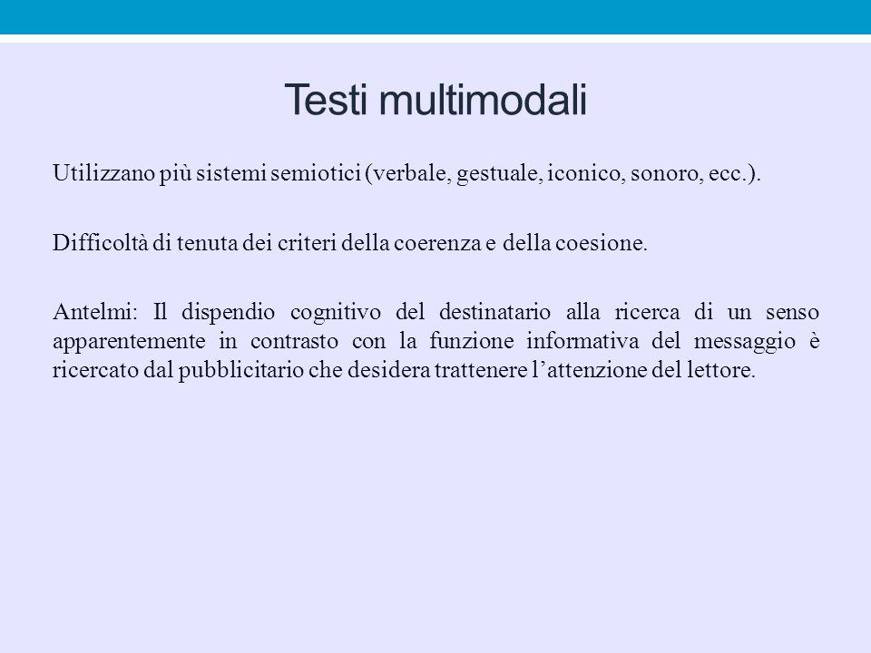 Testi multimodali Utilizzano più sistemi semiotici (verbale, gestuale, iconico, sonoro, ecc.). Difficoltà di tenuta dei criteri della coerenza e della
