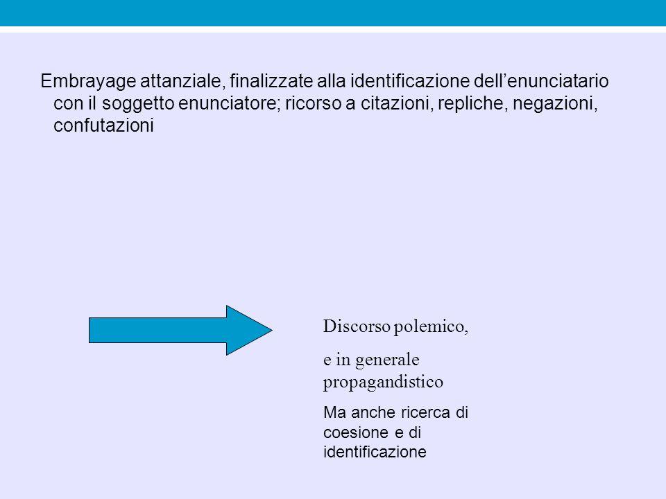 Embrayage attanziale, finalizzate alla identificazione dell'enunciatario con il soggetto enunciatore; ricorso a citazioni, repliche, negazioni, confut