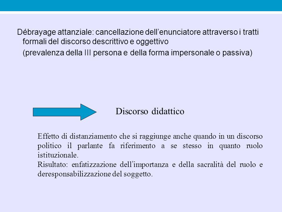 Débrayage attanziale: cancellazione dell'enunciatore attraverso i tratti formali del discorso descrittivo e oggettivo (prevalenza della III persona e