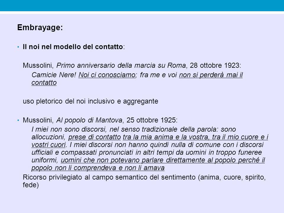 Embrayage: Il noi nel modello del contatto: Mussolini, Primo anniversario della marcia su Roma, 28 ottobre 1923: Camicie Nere! Noi ci conosciamo; fra