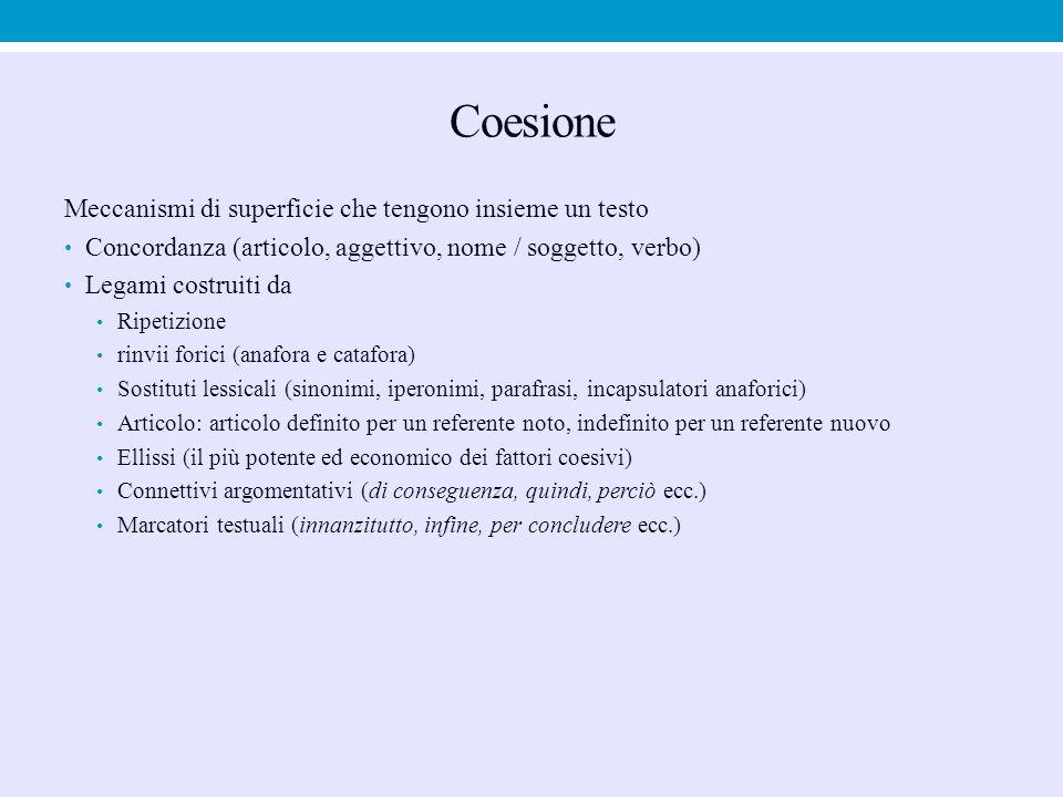 Coesione Meccanismi di superficie che tengono insieme un testo Concordanza (articolo, aggettivo, nome / soggetto, verbo) Legami costruiti da Ripetizio