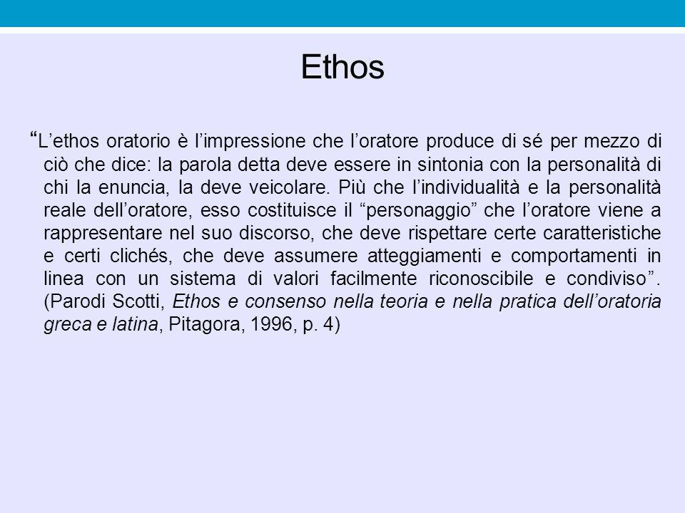 """Ethos """" L'ethos oratorio è l'impressione che l'oratore produce di sé per mezzo di ciò che dice: la parola detta deve essere in sintonia con la persona"""