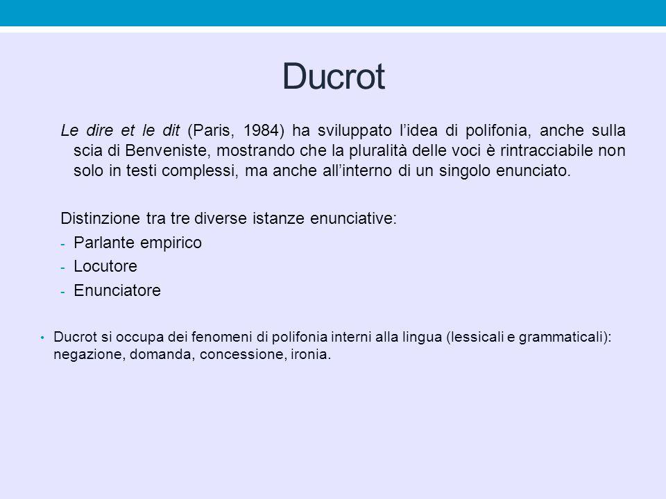 Ducrot Le dire et le dit (Paris, 1984) ha sviluppato l'idea di polifonia, anche sulla scia di Benveniste, mostrando che la pluralità delle voci è rint