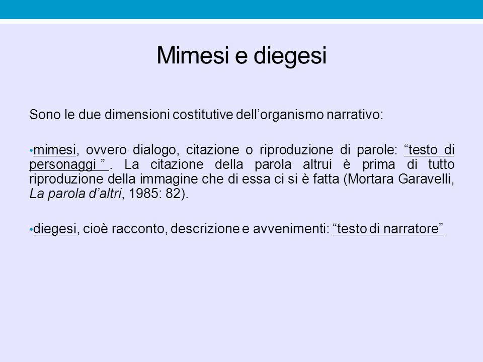 """Mimesi e diegesi Sono le due dimensioni costitutive dell'organismo narrativo: mimesi, ovvero dialogo, citazione o riproduzione di parole: """"testo di pe"""