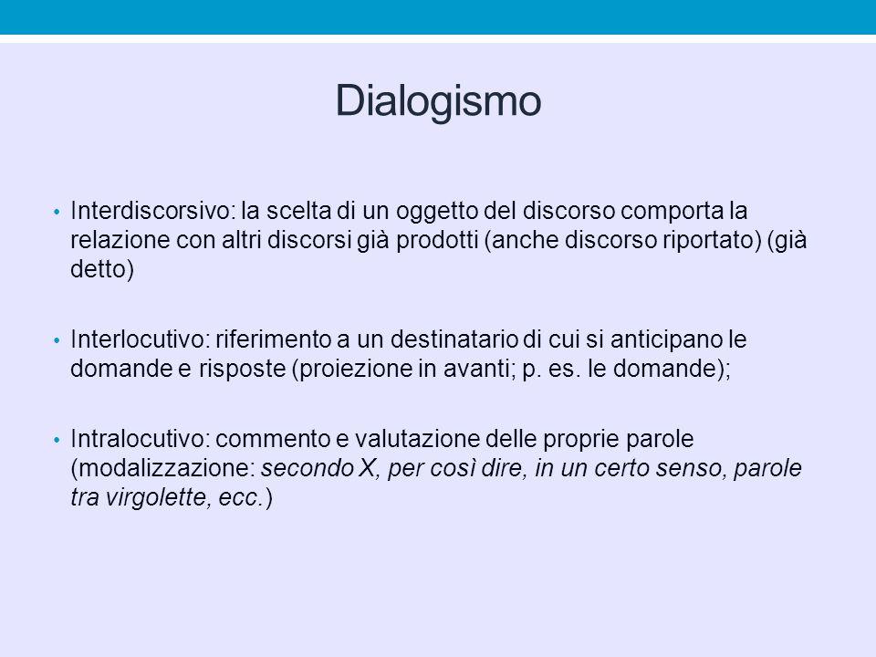 Dialogismo Interdiscorsivo: la scelta di un oggetto del discorso comporta la relazione con altri discorsi già prodotti (anche discorso riportato) (già