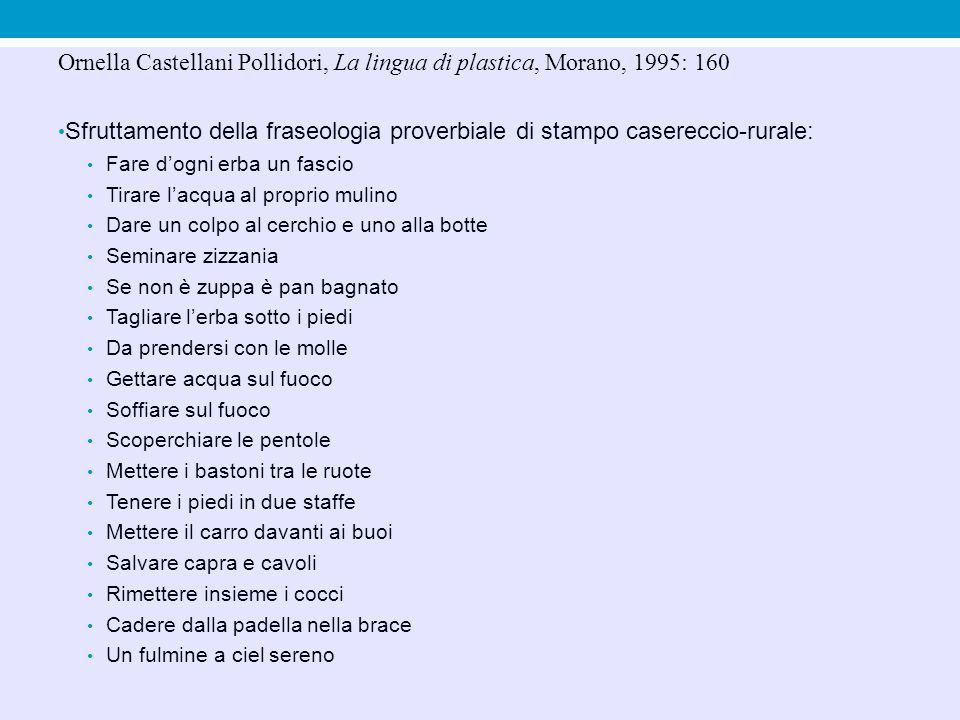 Ornella Castellani Pollidori, La lingua di plastica, Morano, 1995: 160 Sfruttamento della fraseologia proverbiale di stampo casereccio-rurale: Fare d'