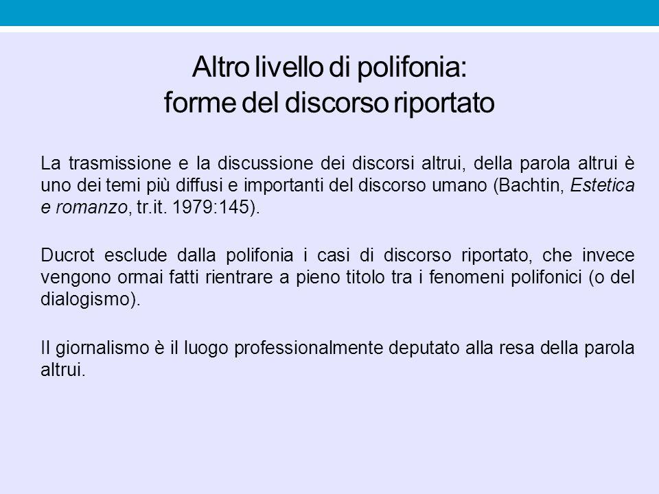 Altro livello di polifonia: forme del discorso riportato La trasmissione e la discussione dei discorsi altrui, della parola altrui è uno dei temi più