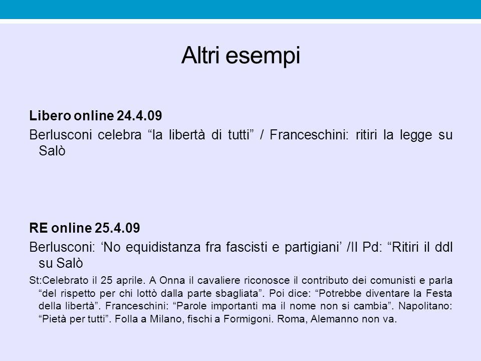 "Altri esempi Libero online 24.4.09 Berlusconi celebra ""la libertà di tutti"" / Franceschini: ritiri la legge su Salò RE online 25.4.09 Berlusconi: 'No"