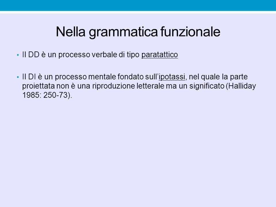 Nella grammatica funzionale Il DD è un processo verbale di tipo paratattico Il DI è un processo mentale fondato sull'ipotassi, nel quale la parte proi