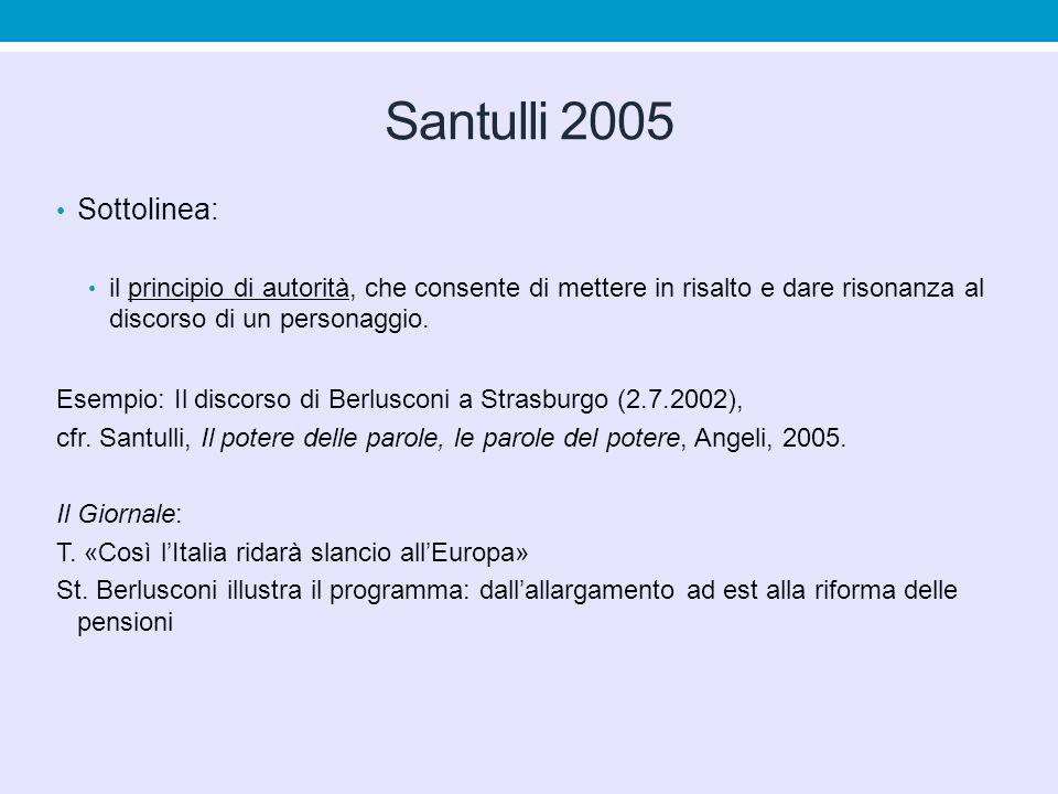 Santulli 2005 Sottolinea: il principio di autorità, che consente di mettere in risalto e dare risonanza al discorso di un personaggio. Esempio: Il dis