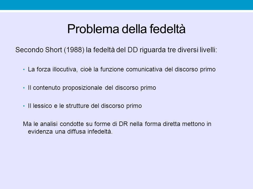 Problema della fedeltà Secondo Short (1988) la fedeltà del DD riguarda tre diversi livelli: La forza illocutiva, cioè la funzione comunicativa del dis