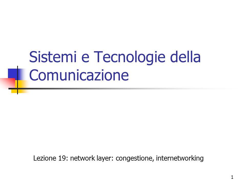 1 Sistemi e Tecnologie della Comunicazione Lezione 19: network layer: congestione, internetworking