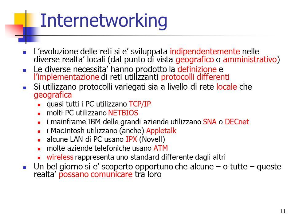 11 Internetworking L'evoluzione delle reti si e' sviluppata indipendentemente nelle diverse realta' locali (dal punto di vista geografico o amministrativo) Le diverse necessita' hanno prodotto la definizione e l'implementazione di reti utilizzanti protocolli differenti Si utilizzano protocolli variegati sia a livello di rete locale che geografica quasi tutti i PC utilizzano TCP/IP molti PC utilizzano NETBIOS i mainframe IBM delle grandi aziende utilizzano SNA o DECnet i MacIntosh utilizzano (anche) Appletalk alcune LAN di PC usano IPX (Novell) molte aziende telefoniche usano ATM wireless rappresenta uno standard differente dagli altri Un bel giorno si e' scoperto opportuno che alcune – o tutte – queste realta' possano comunicare tra loro