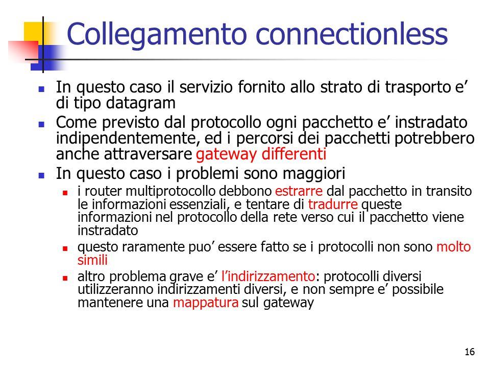 16 Collegamento connectionless In questo caso il servizio fornito allo strato di trasporto e' di tipo datagram Come previsto dal protocollo ogni pacchetto e' instradato indipendentemente, ed i percorsi dei pacchetti potrebbero anche attraversare gateway differenti In questo caso i problemi sono maggiori i router multiprotocollo debbono estrarre dal pacchetto in transito le informazioni essenziali, e tentare di tradurre queste informazioni nel protocollo della rete verso cui il pacchetto viene instradato questo raramente puo' essere fatto se i protocolli non sono molto simili altro problema grave e' l'indirizzamento: protocolli diversi utilizzeranno indirizzamenti diversi, e non sempre e' possibile mantenere una mappatura sul gateway