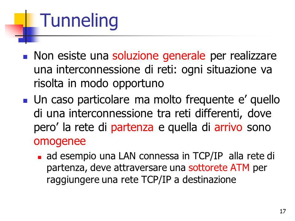 17 Tunneling Non esiste una soluzione generale per realizzare una interconnessione di reti: ogni situazione va risolta in modo opportuno Un caso particolare ma molto frequente e' quello di una interconnessione tra reti differenti, dove pero' la rete di partenza e quella di arrivo sono omogenee ad esempio una LAN connessa in TCP/IP alla rete di partenza, deve attraversare una sottorete ATM per raggiungere una rete TCP/IP a destinazione