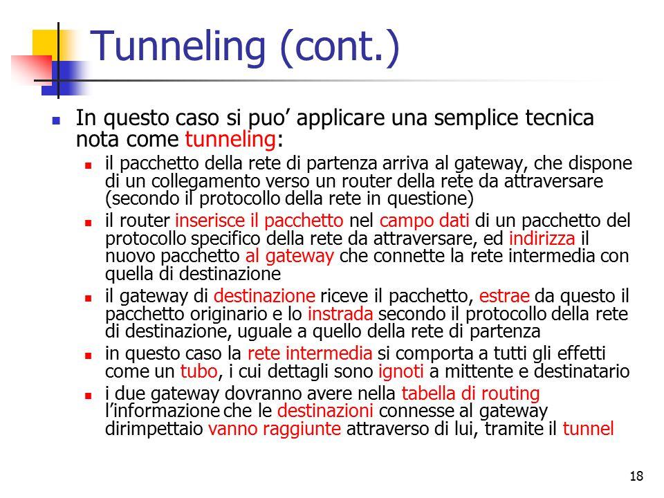 18 Tunneling (cont.) In questo caso si puo' applicare una semplice tecnica nota come tunneling: il pacchetto della rete di partenza arriva al gateway, che dispone di un collegamento verso un router della rete da attraversare (secondo il protocollo della rete in questione) il router inserisce il pacchetto nel campo dati di un pacchetto del protocollo specifico della rete da attraversare, ed indirizza il nuovo pacchetto al gateway che connette la rete intermedia con quella di destinazione il gateway di destinazione riceve il pacchetto, estrae da questo il pacchetto originario e lo instrada secondo il protocollo della rete di destinazione, uguale a quello della rete di partenza in questo caso la rete intermedia si comporta a tutti gli effetti come un tubo, i cui dettagli sono ignoti a mittente e destinatario i due gateway dovranno avere nella tabella di routing l'informazione che le destinazioni connesse al gateway dirimpettaio vanno raggiunte attraverso di lui, tramite il tunnel