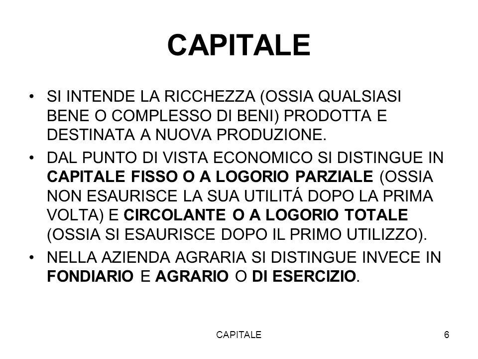 CAPITALE6 SI INTENDE LA RICCHEZZA (OSSIA QUALSIASI BENE O COMPLESSO DI BENI) PRODOTTA E DESTINATA A NUOVA PRODUZIONE.