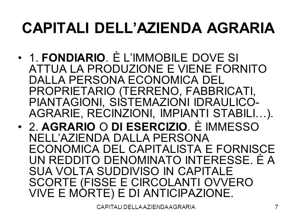 CAPITALI DELLA AZIENDA AGRARIA 7 CAPITALI DELL'AZIENDA AGRARIA 1.