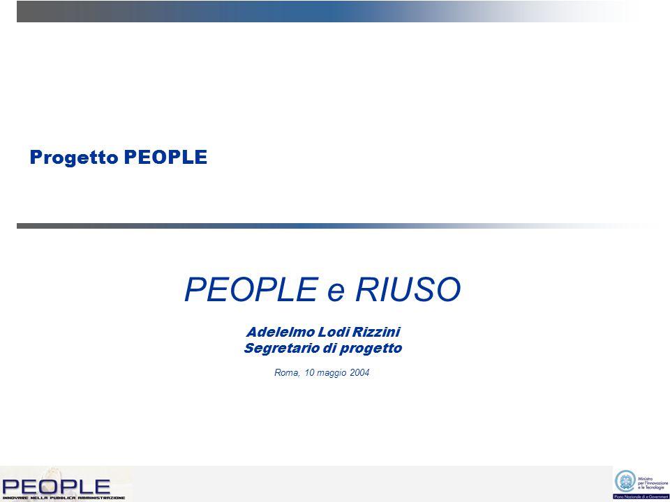 2 Il progetto PEOPLE People è un progetto presentato per il cofinanziamento sui fondi nazionali e-government lo scorso 10 giugno 2002 da 55 enti, ciascuno dotato di un diverso sistema di back office, a cui si intende connettere il portale People.