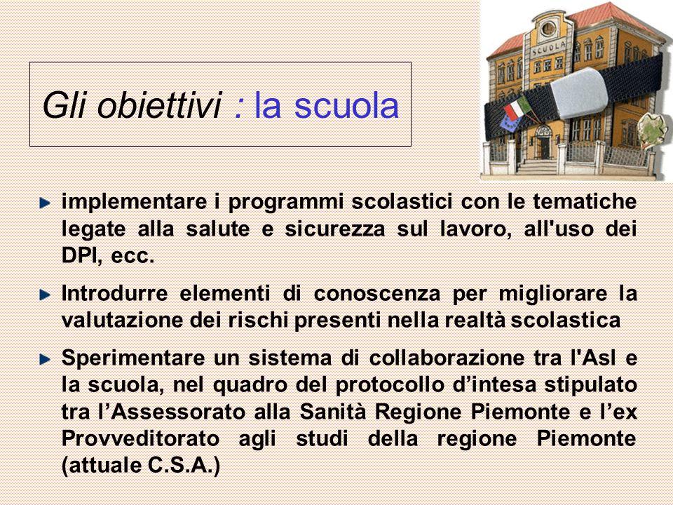 Gli obiettivi : la scuola implementare i programmi scolastici con le tematiche legate alla salute e sicurezza sul lavoro, all uso dei DPI, ecc.