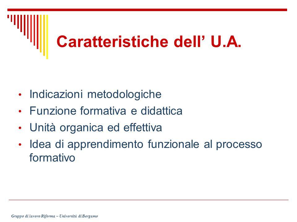 Caratteristiche dell' U.A. Indicazioni metodologiche Funzione formativa e didattica Unità organica ed effettiva Idea di apprendimento funzionale al pr
