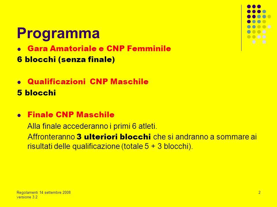 Regolamenti 14 settembre 2008 versione 3.2 2 Gara Amatoriale e CNP Femminile 6 blocchi (senza finale) Qualificazioni CNP Maschile 5 blocchi Finale CNP