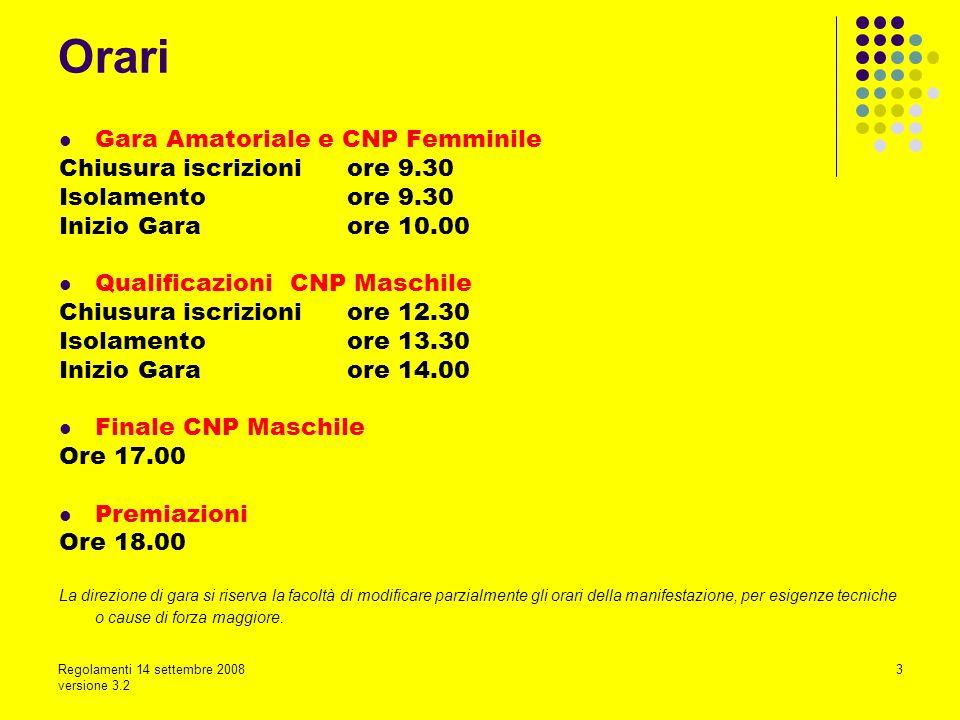 Regolamenti 14 settembre 2008 versione 3.2 3 Gara Amatoriale e CNP Femminile Chiusura iscrizioni ore 9.30 Isolamento ore 9.30 Inizio Gara ore 10.00 Qu