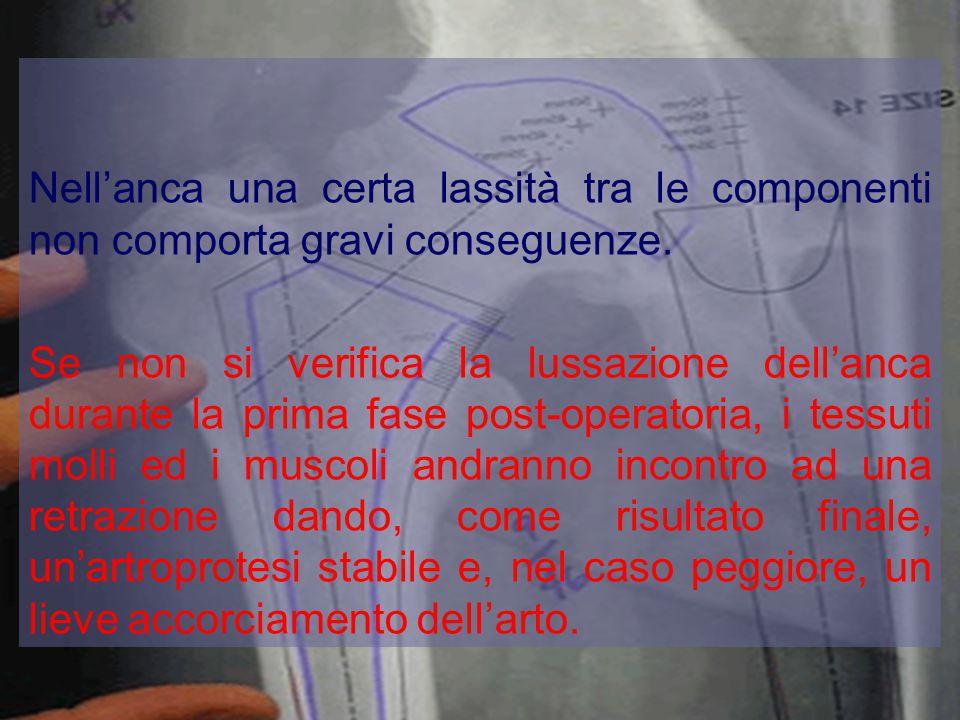 Nell'anca una certa lassità tra le componenti non comporta gravi conseguenze. Se non si verifica la lussazione dell'anca durante la prima fase post-op