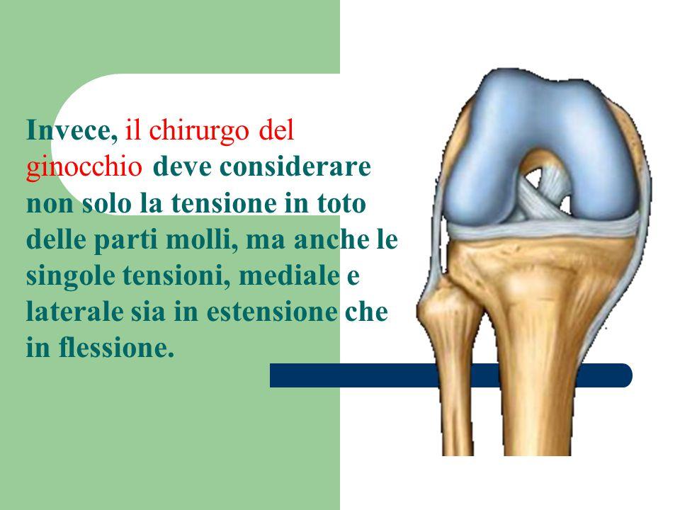 Invece, il chirurgo del ginocchio deve considerare non solo la tensione in toto delle parti molli, ma anche le singole tensioni, mediale e laterale si