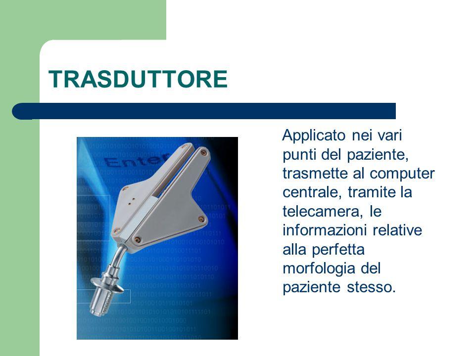 TRASDUTTORE Applicato nei vari punti del paziente, trasmette al computer centrale, tramite la telecamera, le informazioni relative alla perfetta morfo