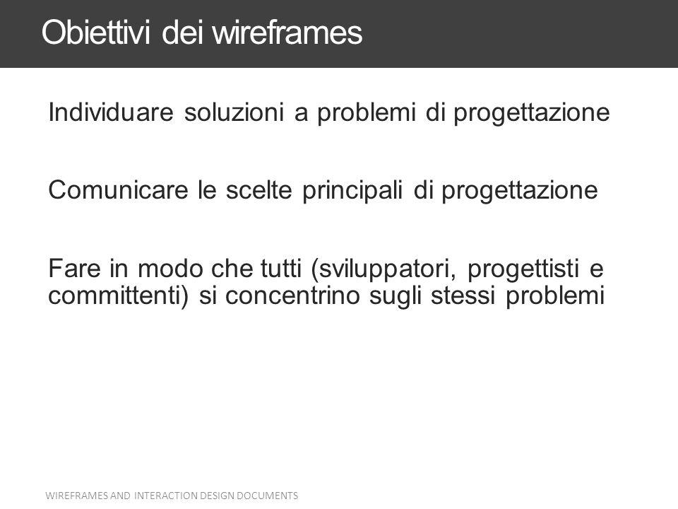 Obiettivi dei wireframes Individuare soluzioni a problemi di progettazione Comunicare le scelte principali di progettazione Fare in modo che tutti (sv