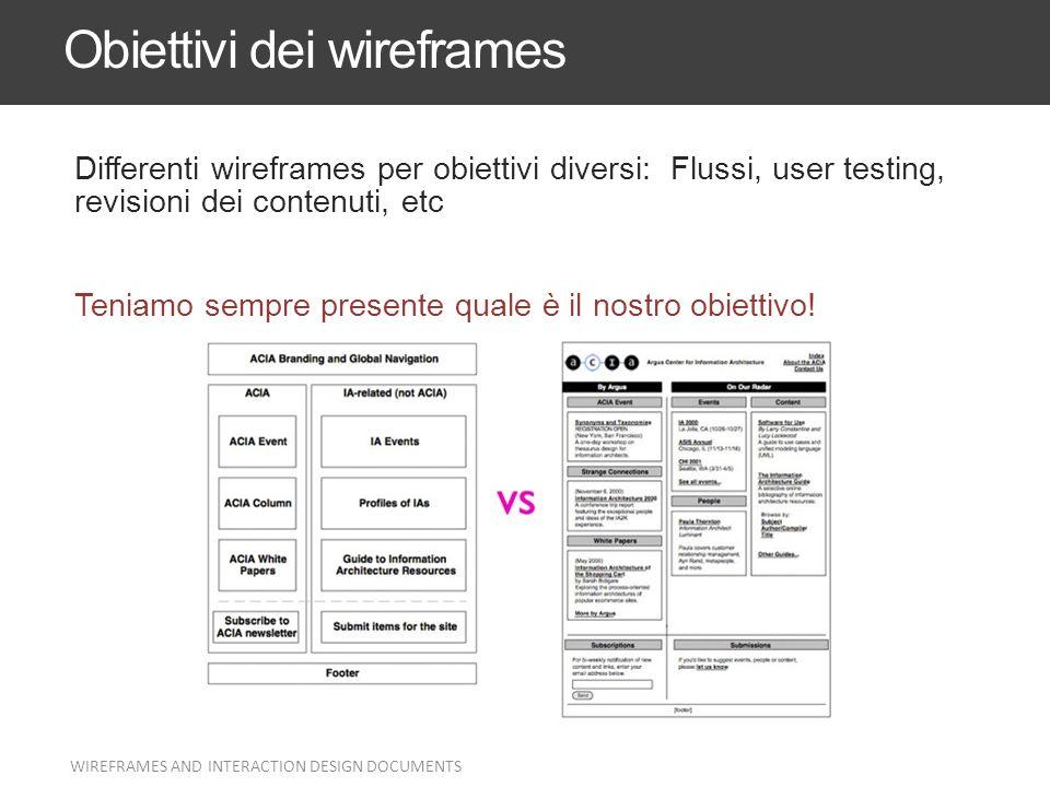 Obiettivi dei wireframes Differenti wireframes per obiettivi diversi: Flussi, user testing, revisioni dei contenuti, etc Teniamo sempre presente quale
