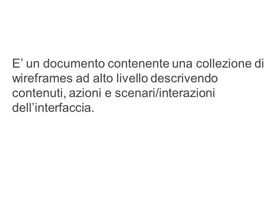 what are they? 18 E' un documento contenente una collezione di wireframes ad alto livello descrivendo contenuti, azioni e scenari/interazioni dell'int