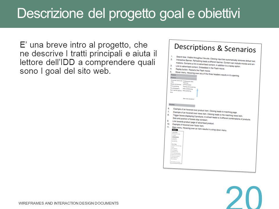 E' una breve intro al progetto, che ne descrive I tratti principali e aiuta il lettore dell'IDD a comprendere quali sono I goal del sito web. Descrizi