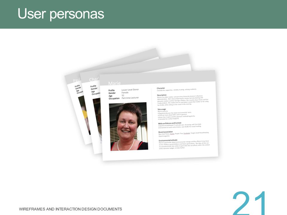 User personas WIREFRAMES AND INTERACTION DESIGN DOCUMENTS 21
