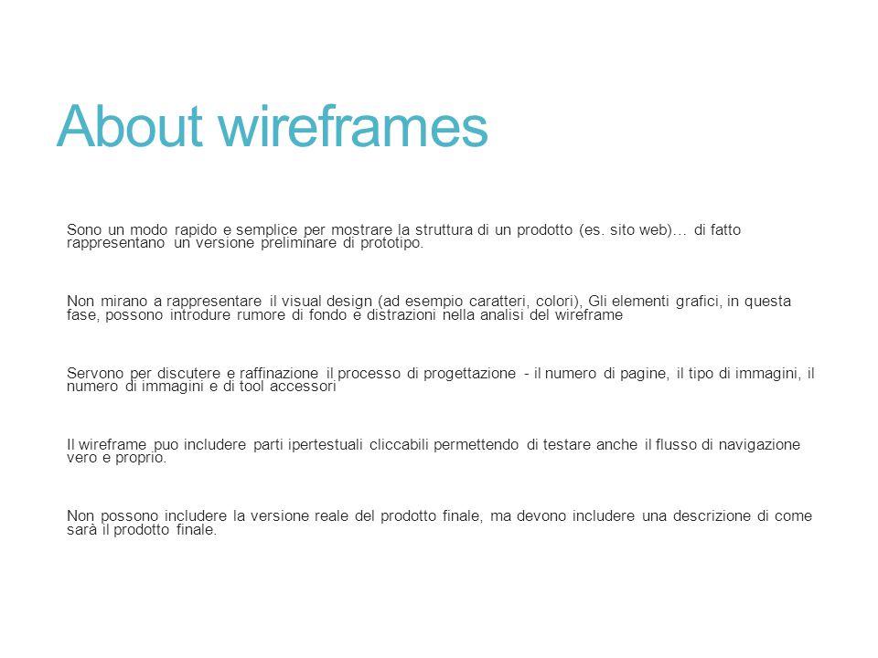 About wireframes Sono un modo rapido e semplice per mostrare la struttura di un prodotto (es. sito web)… di fatto rappresentano un versione preliminar