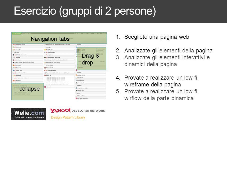 Esercizio (gruppi di 2 persone) 1.Scegliete una pagina web 2.Analizzate gli elementi della pagina 3.Analizzate gli elementi interattivi e dinamici del
