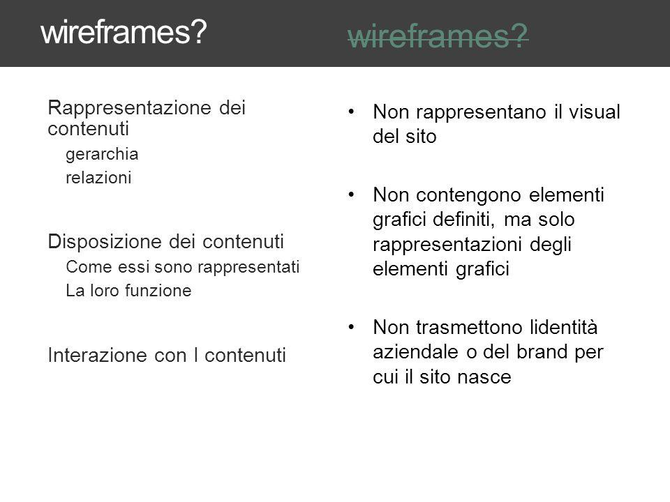 wireframes? Rappresentazione dei contenuti gerarchia relazioni Disposizione dei contenuti Come essi sono rappresentati La loro funzione Interazione co
