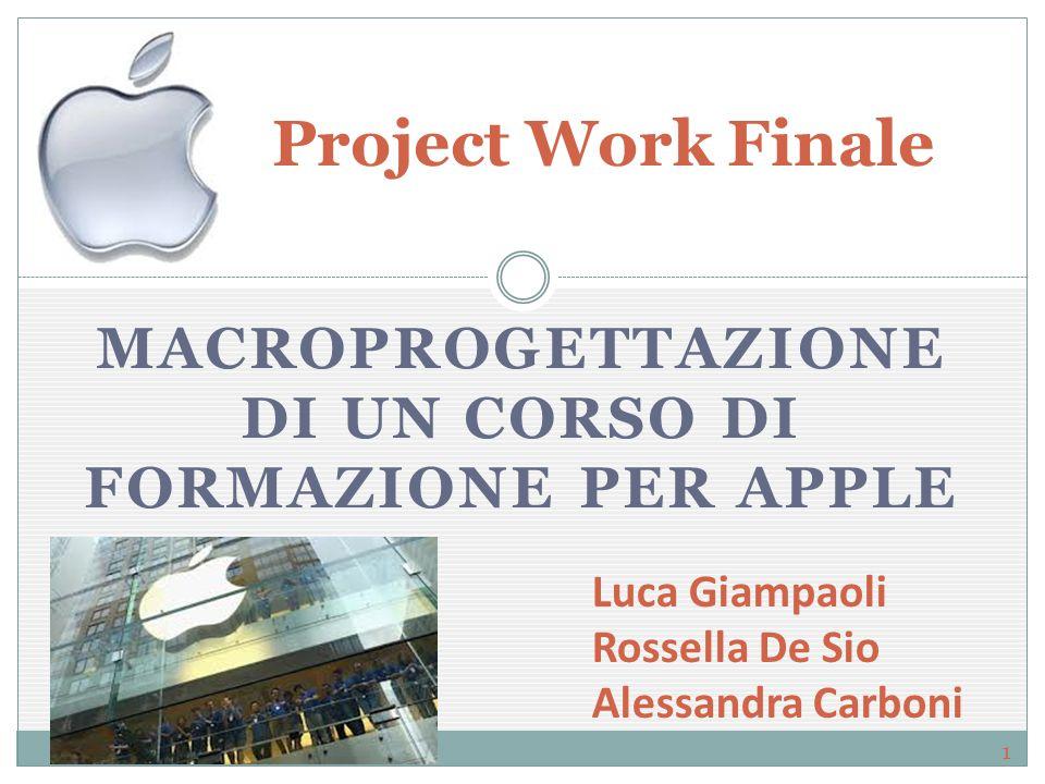 MACROPROGETTAZIONE DI UN CORSO DI FORMAZIONE PER APPLE Project Work Finale Luca Giampaoli Rossella De Sio Alessandra Carboni 1
