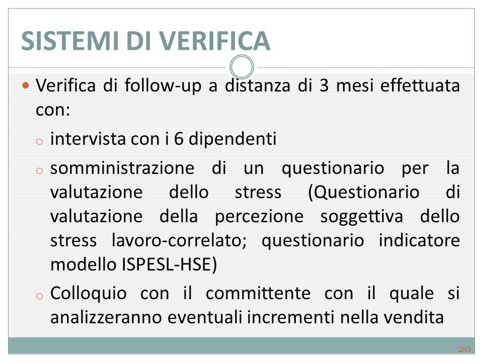 SISTEMI DI VERIFICA Verifica di follow-up a distanza di 3 mesi effettuata con: o intervista con i 6 dipendenti o somministrazione di un questionario p