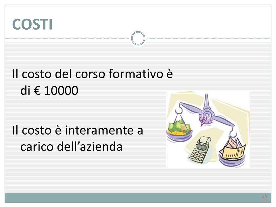 COSTI Il costo del corso formativo è di € 10000 Il costo è interamente a carico dell'azienda 21