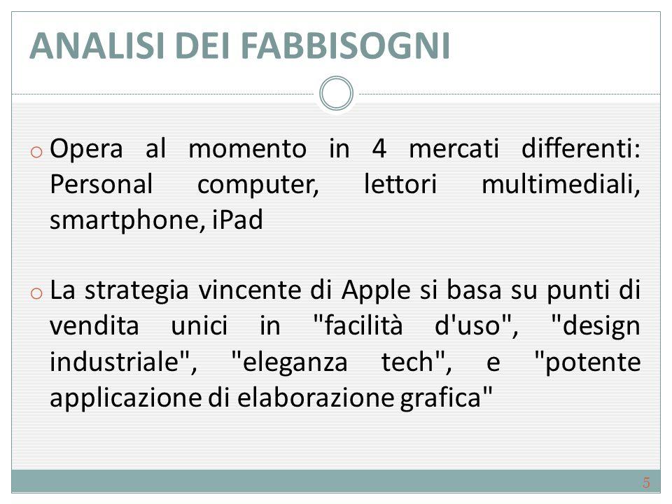 ANALISI DEI FABBISOGNI o Apple sviluppa e commercializza prodotti innovativi con l'idea di creare un'esperienza che cambi il modo di lavorare, pensare, comunicare e apprendere.