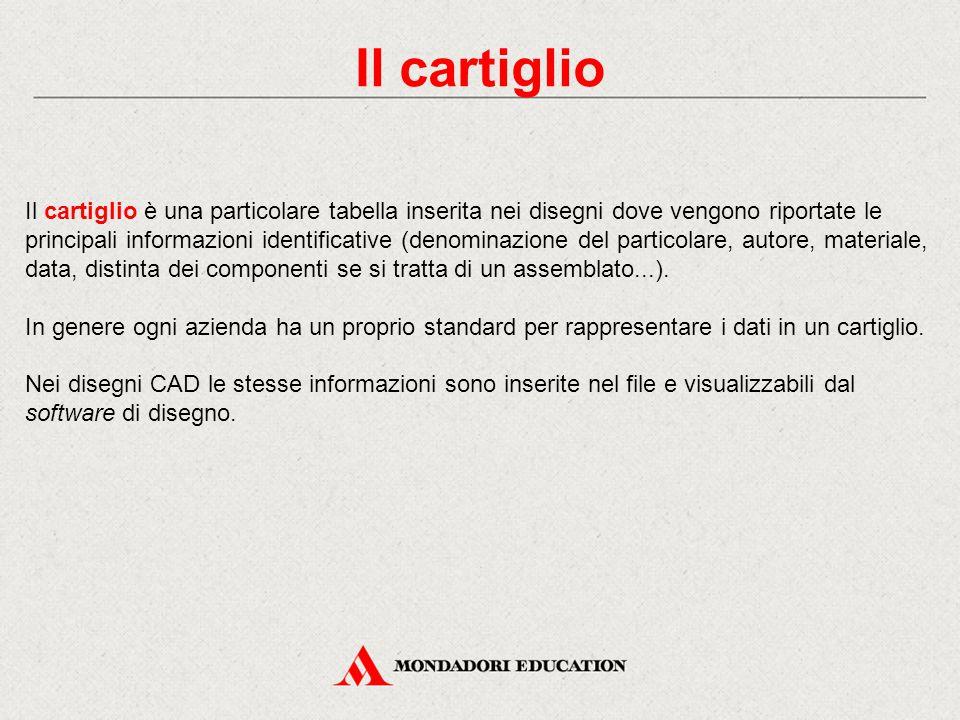 Il cartiglio Il cartiglio è una particolare tabella inserita nei disegni dove vengono riportate le principali informazioni identificative (denominazio