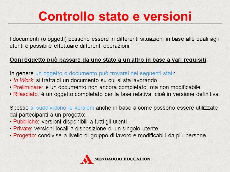 Controllo stato e versioni I documenti (o oggetti) possono essere in differenti situazioni in base alle quali agli utenti è possibile effettuare differenti operazioni.