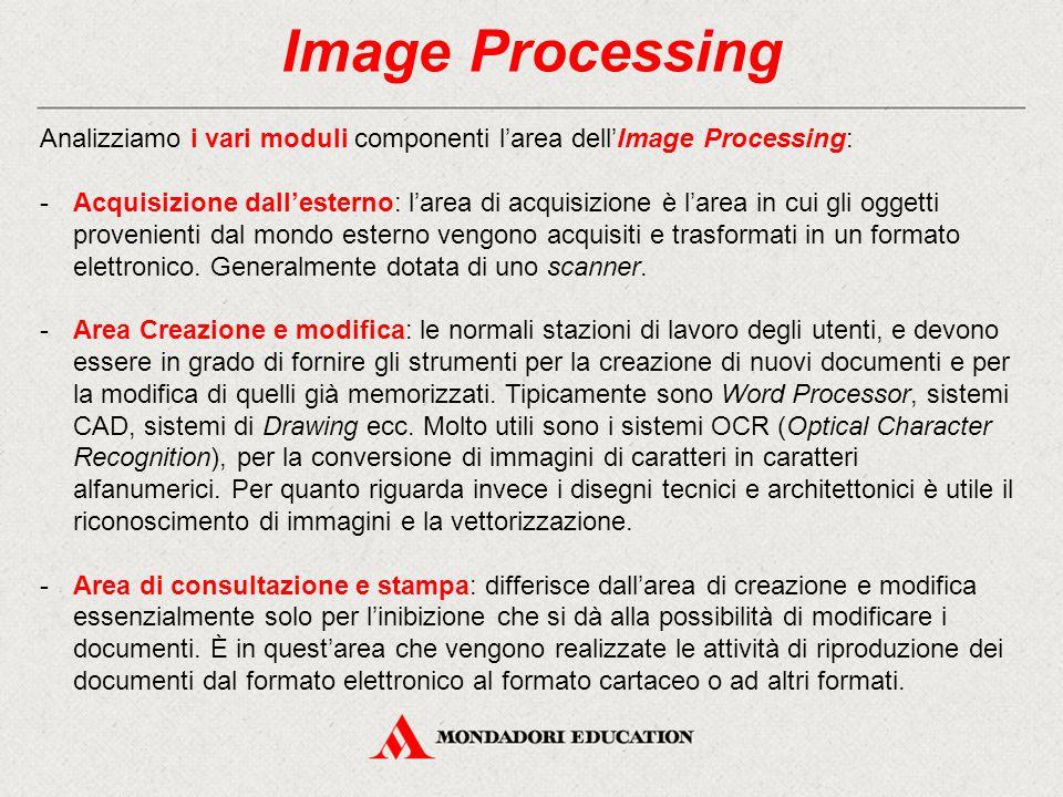 Image Processing Analizziamo i vari moduli componenti l'area dell'Image Processing: -Acquisizione dall'esterno: l'area di acquisizione è l'area in cui gli oggetti provenienti dal mondo esterno vengono acquisiti e trasformati in un formato elettronico.