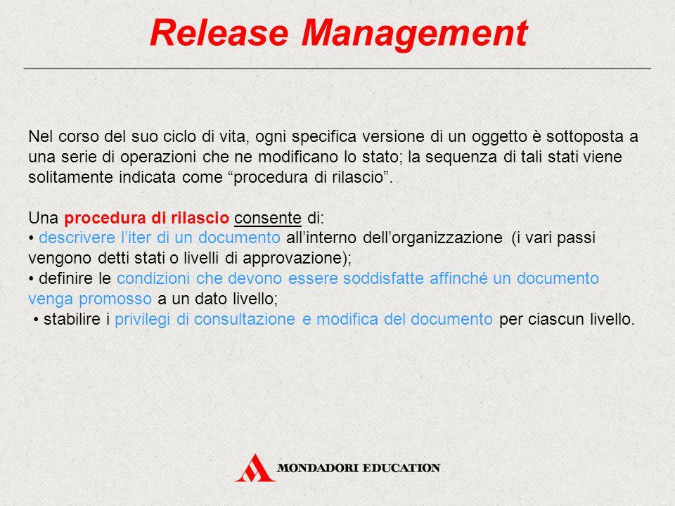 Release Management Nel corso del suo ciclo di vita, ogni specifica versione di un oggetto è sottoposta a una serie di operazioni che ne modificano lo stato; la sequenza di tali stati viene solitamente indicata come procedura di rilascio .
