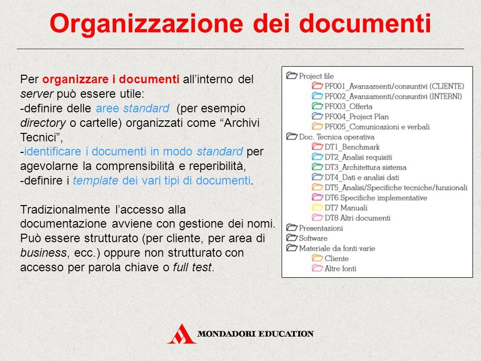 Organizzazione dei documenti Per organizzare i documenti all'interno del server può essere utile: -definire delle aree standard (per esempio directory o cartelle) organizzati come Archivi Tecnici , -identificare i documenti in modo standard per agevolarne la comprensibilità e reperibilità, -definire i template dei vari tipi di documenti.
